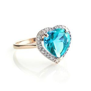 14K. GOLD RING WITH DIAMONDS & HEART BLUE TOPAZ